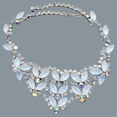Gorgeous Vintage Frosted Blue Navette Rhinestone Bib Necklace