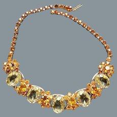 DeLizza & Elster Juliana Five Link Yellow and Orange Rhinestone Necklace