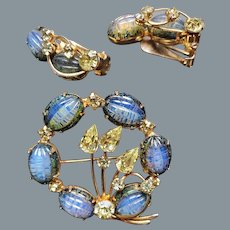 Kramer of New York Blue Ribbed and Yellow Rhinestone Circle Brooch/Pin and Earring Set