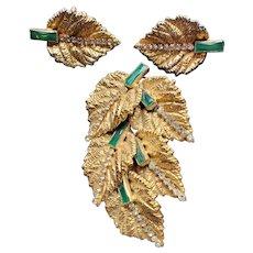 Hobe Leaf, Rhinestone and Emerald Glass Baguette Brooch/Pendant and Earrings