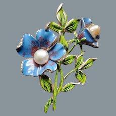 "1940s Blue Enamel Faux Pearl and Rhinestone Pot Metal 3.5"" Floral Brooch"