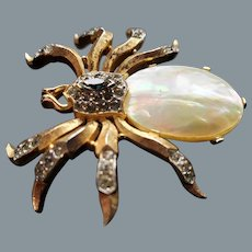 Rare 1957 Alfred Phillipe  Crown Trifari Mother of Pearl Rhinestone Spider Brooch