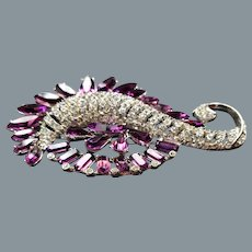 Stunning Purple and Diamante Crystal Large Paisley Brooch