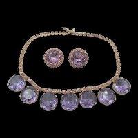 DeLizza & Elster Juliana Purple Headlight Necklace and Clip Earring Set