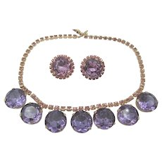 DeLizza & Elster Juliana Purple Headlight Necklace and Clip Earring Set