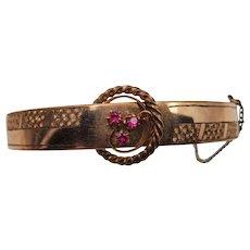 Victorian Rose Gold Plated Ruby Bangle Bracelet
