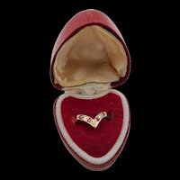 VIntage England 9CT Yellow Gold Ruby and Diamond Ring