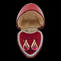 Vintage 10k Yellow Gold Pink Sapphire and Diamond Pierced Earrings