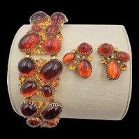Vintage Selro Chunky, Wide Orange Cabochon Bracelet and Earring Set