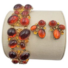 Vintage Selro Chunky, Wide Orange Cabochon Bracelet and Earring Set
