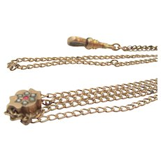 Victorian JFSS Gold Filled Garnet and Seed Pearl Slide Chain