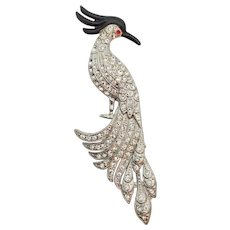 1940s Crystal Rhinestone and Enamel Bird of Paradise Brooch