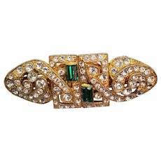 Signed Coro Duette Emerald and Crystal Rhinestone Dress Clip Brooch