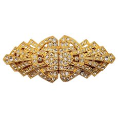 Signed Art Deco Style Coro Duette Crystal Rhinestone Gold Plated Dress Clip Brooch