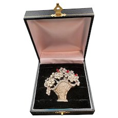 1940s Crystal and Red Baguette Rhinestone Flower Basket Brooch/Pin