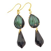 Pierced Drop Green and Black Cabochon and Briolette Glass Earrings