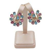 Signed Joseph Wiesner Pastel Rhinestone Clip Earrings