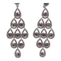 """Purple and Pink Rhinestone 3.5"""" Chandelier Pierced Earrings"""