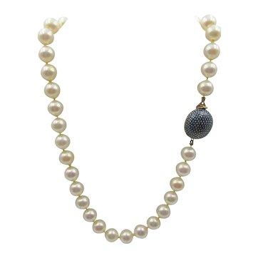 Signed Ciner Faux Pearl Necklace Decorative Enamel Clasp