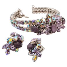 Gorgeous Schoffel Austria Purple Tiger Eye, Lavender and Aurora Borealis Bracelet and Earring Set