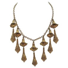Art Deco Brass Floral and Drop Necklace