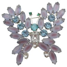 Stunning Large Frosted Orchid and Blue Crystal Rhinestone Butterfly Brooch/Pin