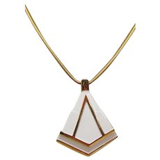 Lanvin Paris 1970s Modernist White Enamel Pendant Necklace