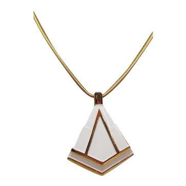 Lanvin Paris 1970s Modernist White Enamel Pendant Necklace