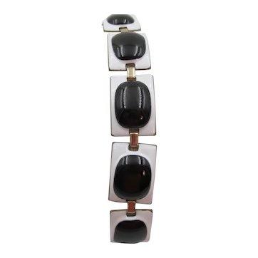 Vintage Signed Kay Denning White Enamel and Black Glass Bracelet