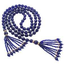 Gorgeous Cobalt Blue Faceted Glass Sautoir Tassel Necklace - 48""