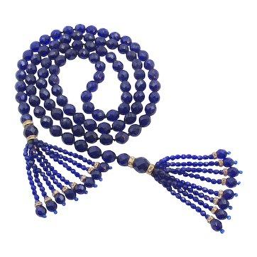 """Gorgeous Cobalt Blue Faceted Glass Sautoir Tassel Necklace - 48"""""""