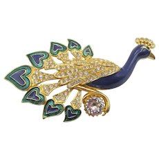 Huge Sardi of England Blue Green Enamel Crystal Rhinestone Peacock Brooch Pin