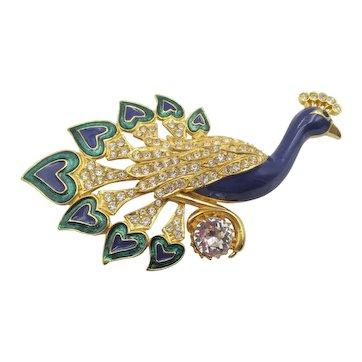 Huge Sardi of England Blue Green Enamel Crystal Rhinestone Peacock Brooch Pin
