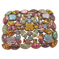 Czech 1920s Multi-Colored Open Back Rhinestone Brass Brooch Pin