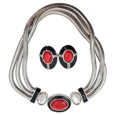 Fabulous YSL Yves St Laurent Silver Black Red Crystal Necklace and Earring Set