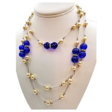 """Beautiful Cobalt Blue Faux Pearl 60"""" Rope Necklace"""
