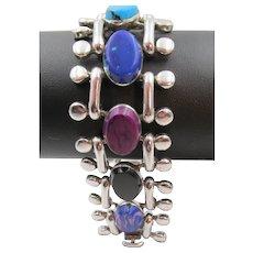 Taxco Mexico 950 Silver Lapis, Turquoise, Malachite and Onyx Bracelet