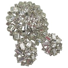 Magnificent Weiss Crystal Baguette Huge Brooch and Earring Set