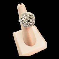 Christian Dior Crystal Rhinestone Dome Ring