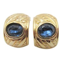 Christian Dior Half Hoop Sapphire Blue Rhinestone Earrings