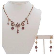Antique Rose Cut Bohemian Garnet Necklace and Drop Earrings Set