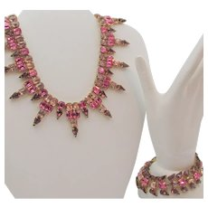 Stunning Kramer of New York Purple, Pink and Orchid  Rhinestone Drop Necklace and Bracelet