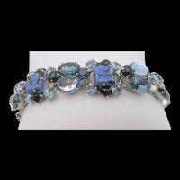 Weiss 1950s Cobalt Blue Fluss and Blue and Black Rhinestone Bracelet
