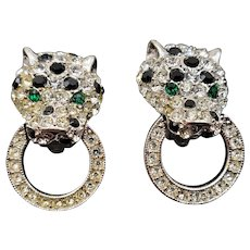 Kenneth Jay Lane K.J.L. Panther Rhinestone Drop Hoop Earrings