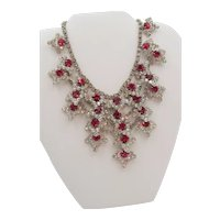 Kramer of New York Ruby Red and Crystal Rhinestone Drop Necklace