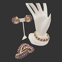 Crown Trifari Purple Navette Rhinestone Bracelet, Brooch and Earring Demi-Parure