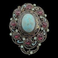 Czech Enamel and Turquoise Cabochon Dress Clip