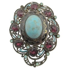 Czech Enamel and Turquoise Cabochon Dress Clip