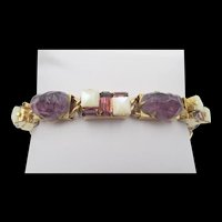 Vintage Purple Lava Rock and Mother of Pearl Link Bracelet