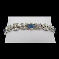Art Deco Sapphire Pressed Glass Crystal Rhinestone Bracelet